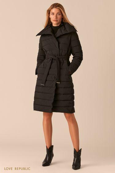 Черное стеганое пальто с регулируемым отложным воротником 0450510110