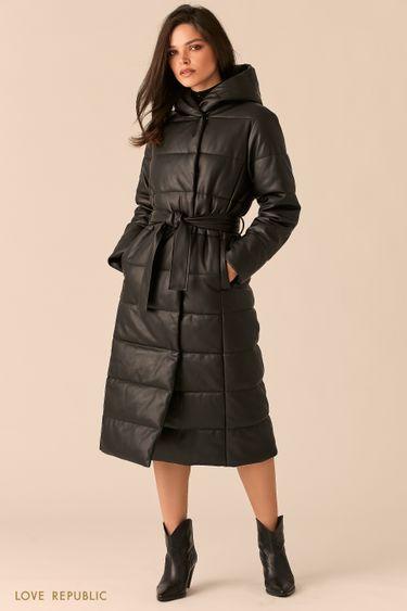 Черное пальто из экокожи со стеганой фактурой 0450515115