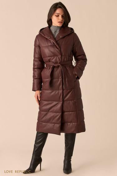 Пальто из экокожи со стеганой фактурой сливового цвета 0450515115