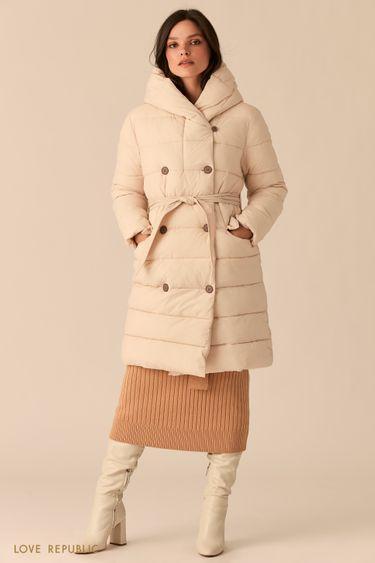 Стеганое двубортное пальто бежевого цвета с капюшоном 0450521121