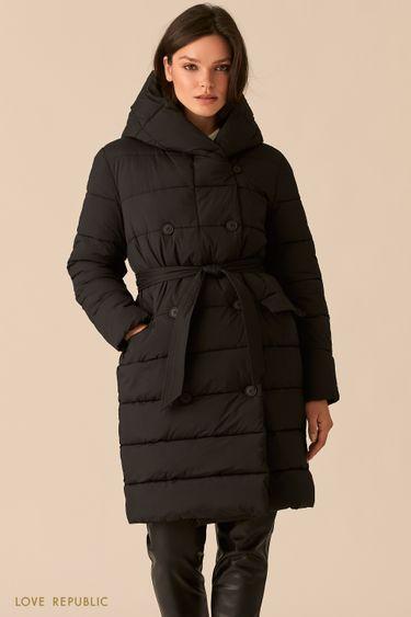 Стеганое двубортное пальто черного цвета с капюшоном 0450526121
