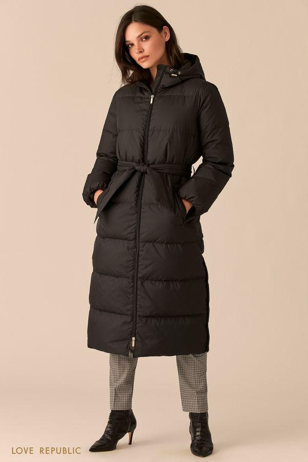 Стеганое пальто-пуховик с поясом на талии 0450501101-1