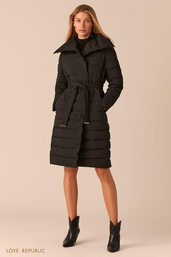 Стеганое пальто с регулируемым отложным воротником сливового оттенка 0450510110-80