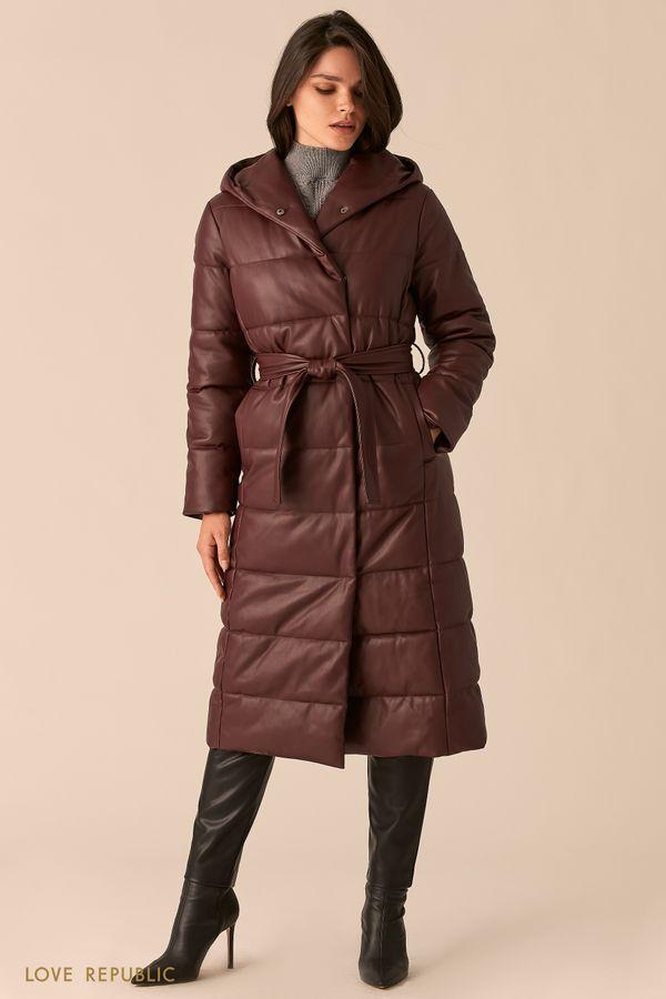 Пальто из экокожи со стеганой фактурой сливового цвета 0450515115-80