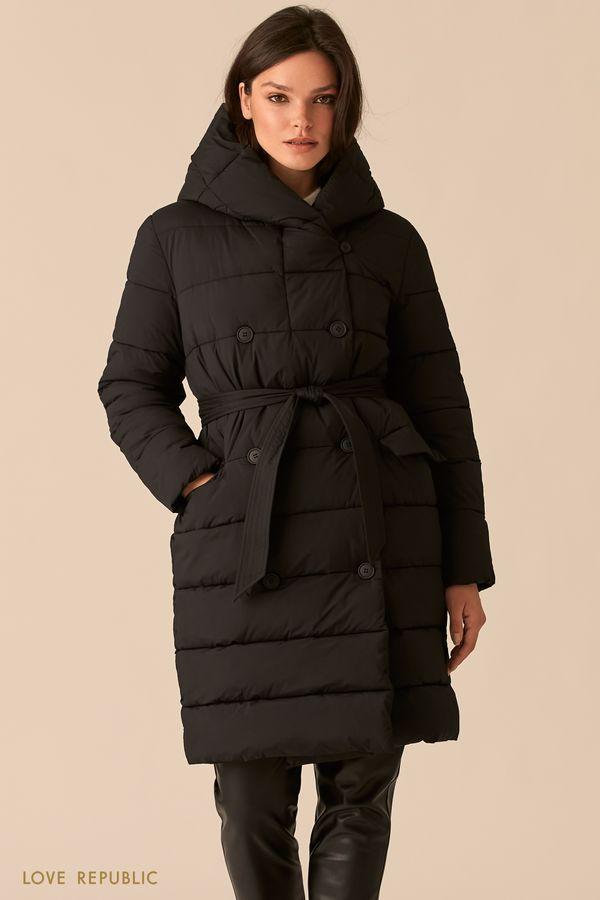 Стеганое двубортное пальто черного цвета с капюшоном 0450526121-50