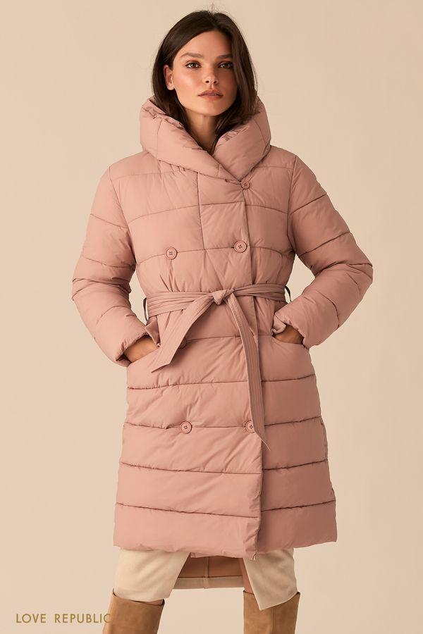 Стеганое двубортное пальто цвета пудры с капюшоном 0450531121-92