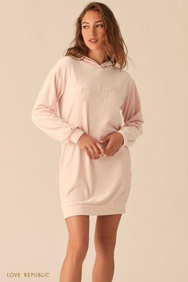 Мягкое платье-худи с капюшоном 045061510