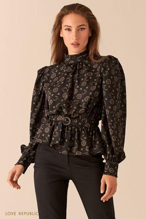 Блузка с объемными рукавами с астро-принтом