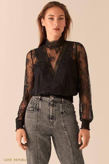 Кружевная блузка с воротником-стойкой 0451001302