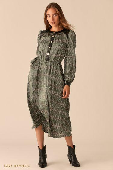 Зелёное миди-платье с кожаными вставками 0451002509