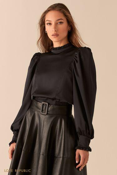 Укороченная атласная блузка с рукавами-буфами 0451004310