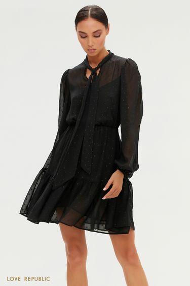 Черное платье из жатого шифона с мушками 0451009518