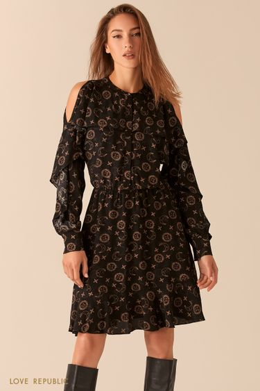 Черное платье с астро-принтом с открытыми плечами и воланами 0451014526