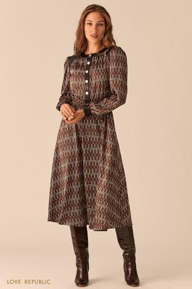 Шоколадное миди-платье с кожаными вставками 0451019559