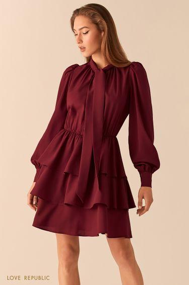 Платье-смок сливового цвета с галстуком 0451021561