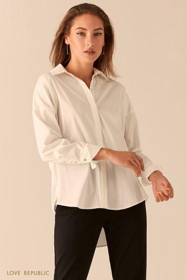Базовая рубашка oversize с закрытой пуговичной планкой 0451027321