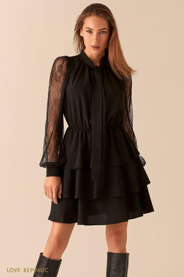 Черное платье-смок с галстуком и ажурными рукавами 0451005511-50