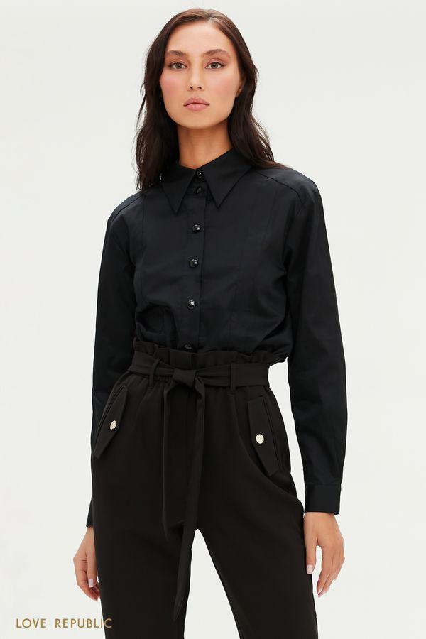 Черная рубашка с акцентными крупными пуговицами с гранями 0451006304-50