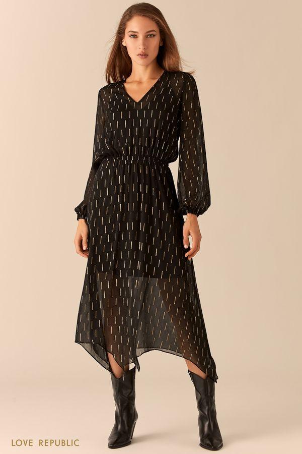 Миди-платье с асимметричным подолом 0451008517-80