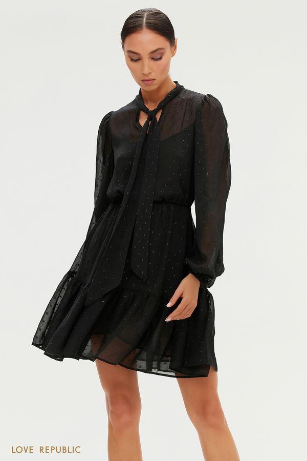 Черное платье с вышивкой плюмети 0451009518-50