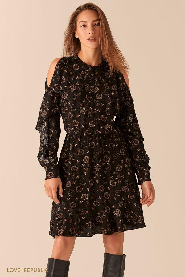 Черное платье с астро-принтом с открытыми плечами и воланами 0451014526-55