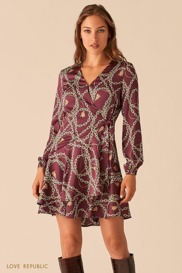 """Струящееся фиолетовое платье с запахом и принтом """"цепи"""" 0451022562-85"""