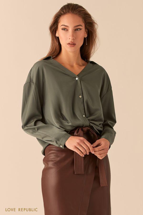 Рубашка oversize с узлом на талии 0451026320-60
