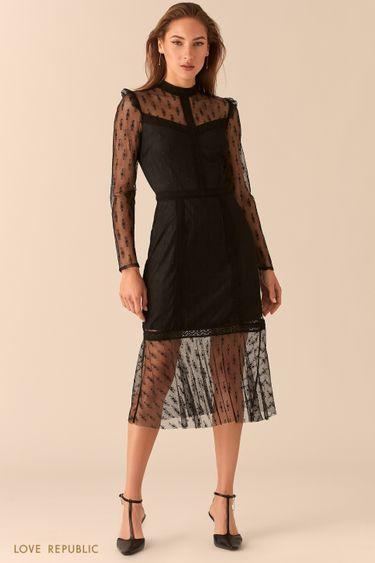 Черное ажурное платье из тонкого кружева с подкладом 0451101512