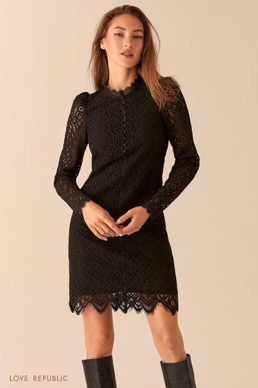 Платье из ажурного кружева с рукавами-фонариками 0451105515