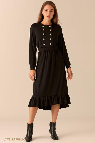 Черное миди-платье с двубортным лифом 0451110531