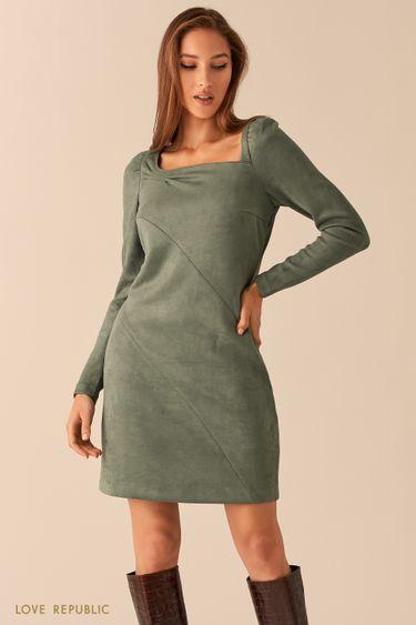 Платье из экозамши с вырезом каре и косыми швами 0451112552