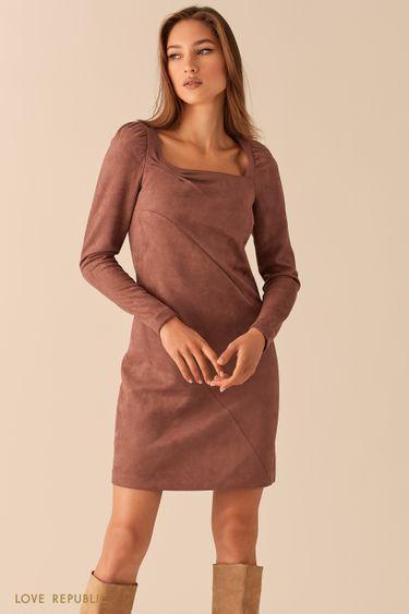 Платье из экозамши с вырезом каре и косыми швами цвета капучино 0451112552