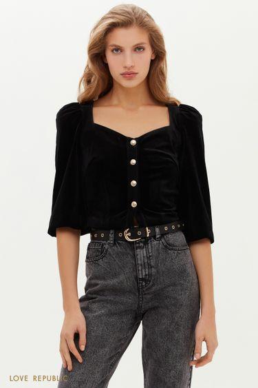 Бархатная блузка с вырезом сердечком 0451121324