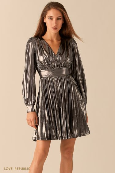 Серебристое плиссированное платье с эффектом металлик 0451123581