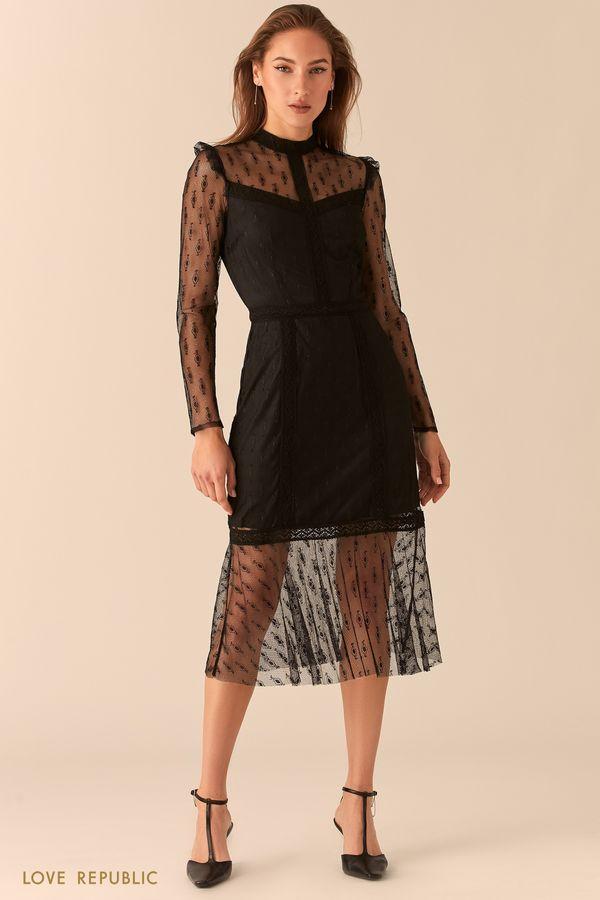 Черное ажурное платье из тонкого кружева с подкладом 0451101512-50