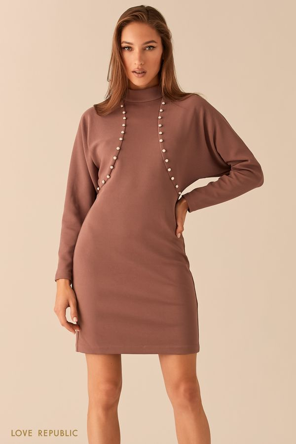 Приталенное платье с жемчужной отделкой 0451104514-50