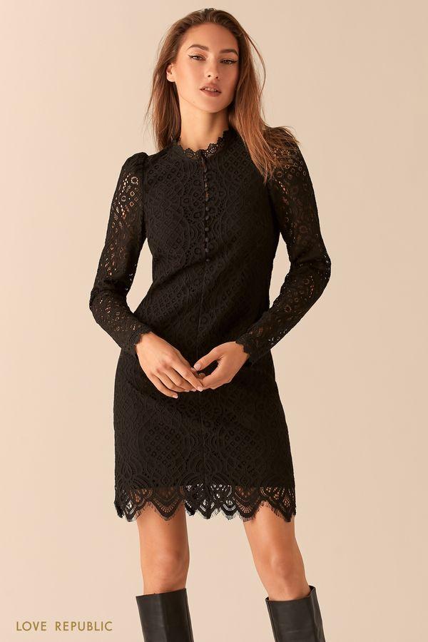 Платье из ажурного кружева с рукавами-фонариками 0451105515-50