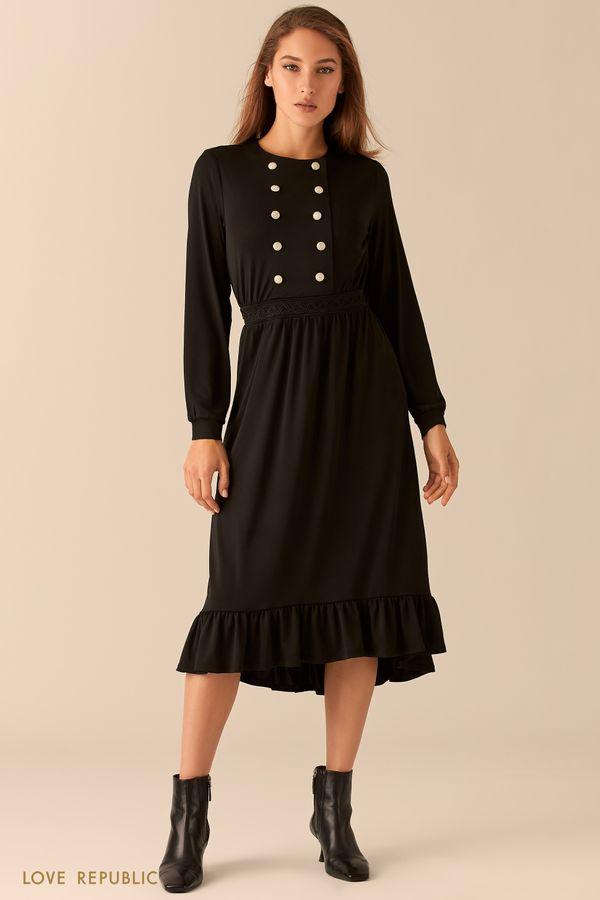 Черное миди-платье с двубортным лифом 0451110531-50
