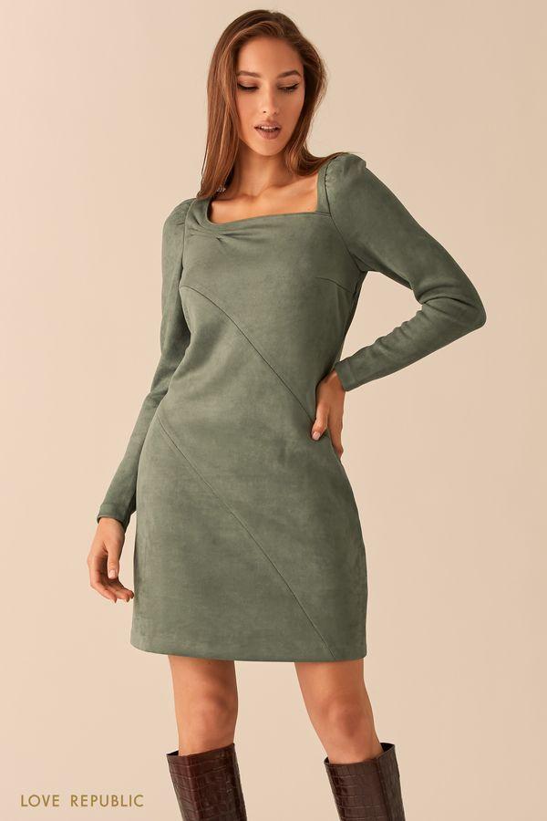Платье из экозамши с вырезом каре и косыми швами зеленого цвета 0451112552-12