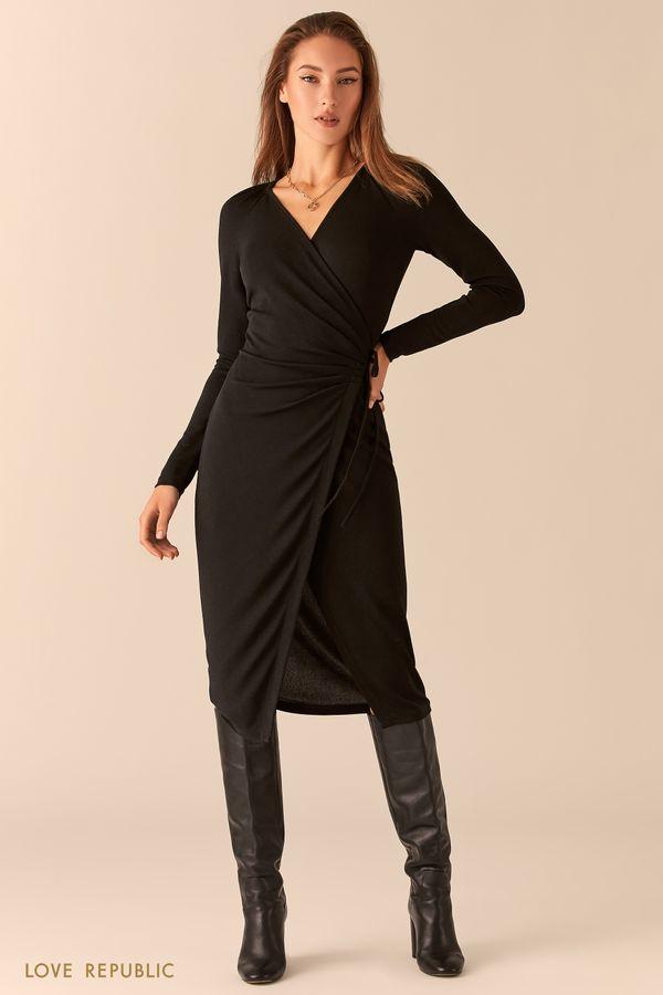 Блестящее платье на запах с драпировками 0451115555-80