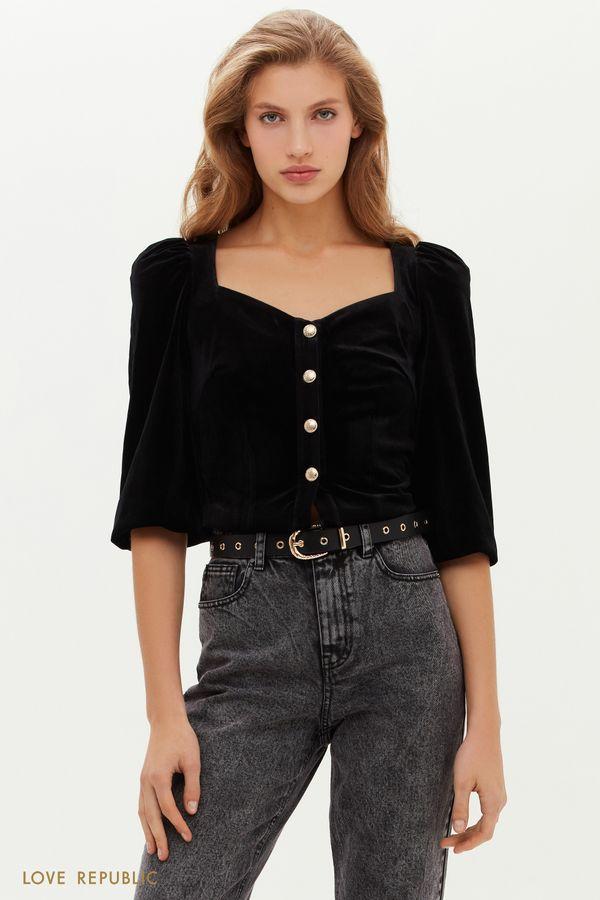 Бархатная блузка с вырезом сердечком 0451121324-50
