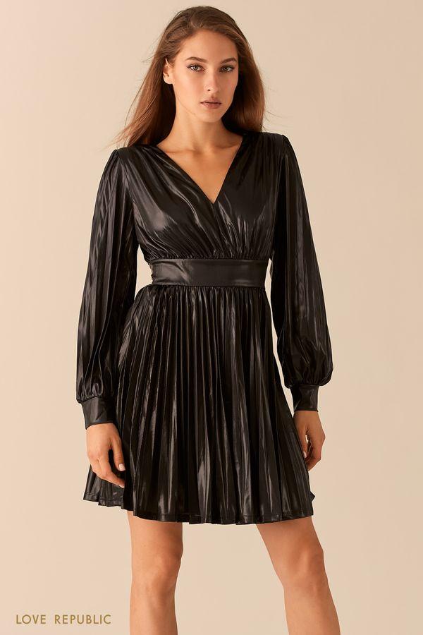 Плиссированное платье с эффектом металлик 0451123581-50