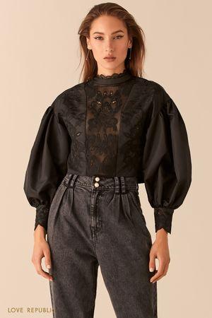 Укороченная блузка с вышивкой ришелье с рукавами-буфами