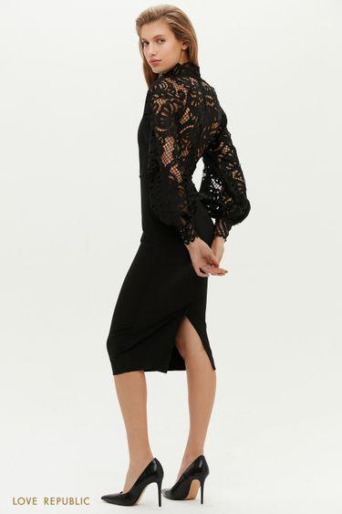Приталенное миди-платье с кружевными рукавами-буфами 0451201502