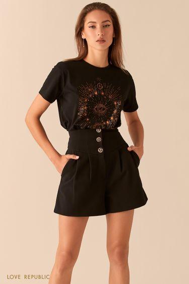 Короткие шорты с корсетным поясом и фигурными пуговицами 0451213702