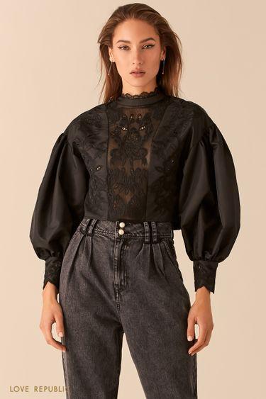Укороченная блузка с вышивкой ришелье с рукавами-буфами 0451220305