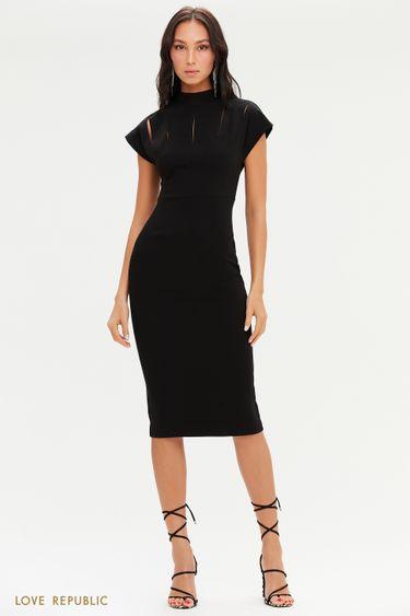 Черное приталенное платье с разрезами на лифе 0451228533