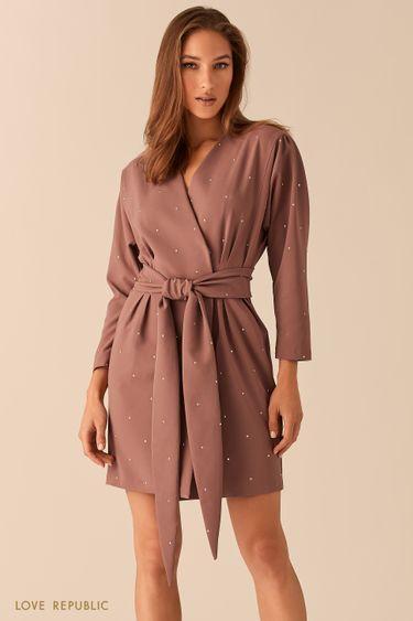 Мини-платье с запахом и декором из статсов 0451232538