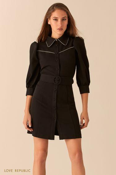 Короткое платье с рукавами-фонариками и акцентным воротничком 0451239558