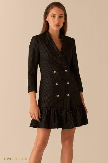 Двубортное платье-пиджак с воланом по подолу 0451241563